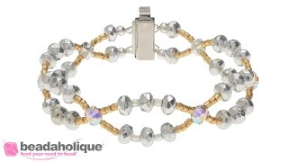 How to Make the Glittering Gala Bracelet featuring Czech Glass Donut Rondelles and Rose Montee Beads