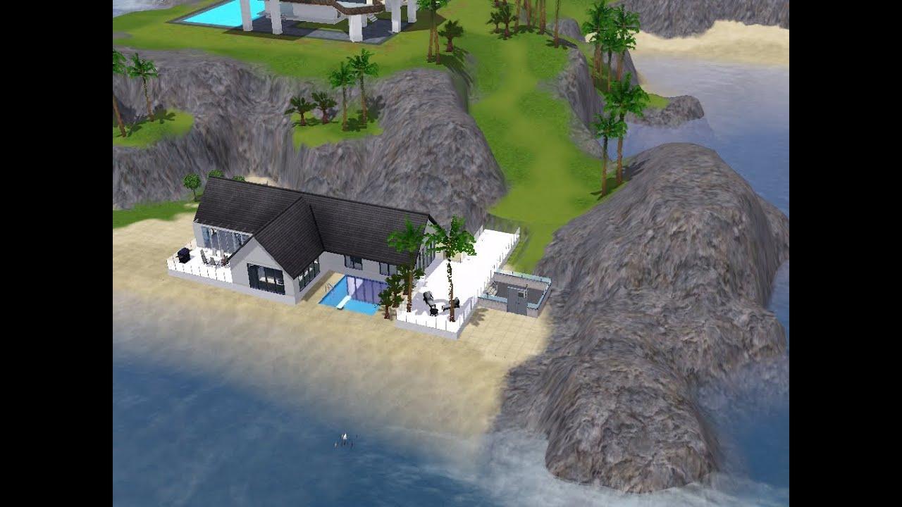 les sims 3 : maison moderne bord de mer - YouTube