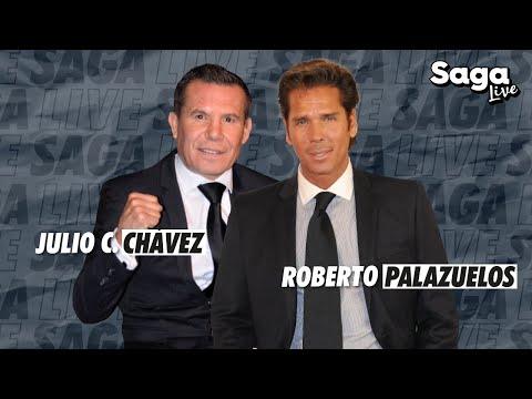 Julio César Chávez y Roberto Palazuelos con Adela Micha