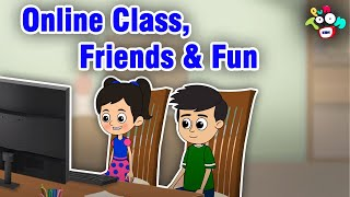 Online Class, Friends &amp Fun  Mischiefs in Online Class  Animated Stories  English Cartoon
