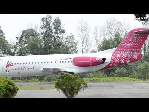 Fokker F70 Transnusa Departure From Pinang Kampai Airport, Dumai
