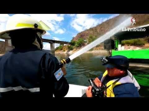 Mirá como fue el simulacro de incendio en el dique Cabra Corral