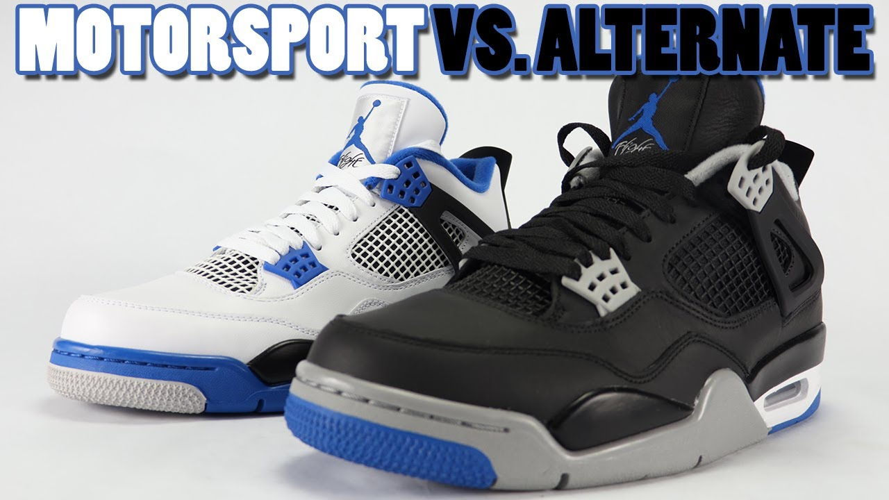 3e6dcbda1121 Motorsport vs Alternate Air Jordan 4 Comparison - YouTube