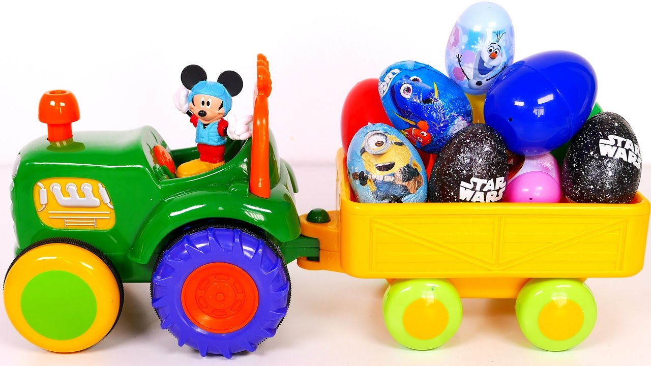 Tractor Filled with Many Surprise Eggs and Toys for Kids!! Nursery Rhymes for Children