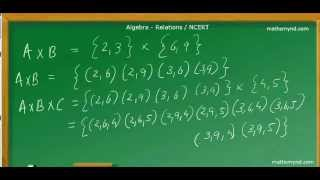 Relations -Cartesian Product of three Sets. NCERT Std.XI
