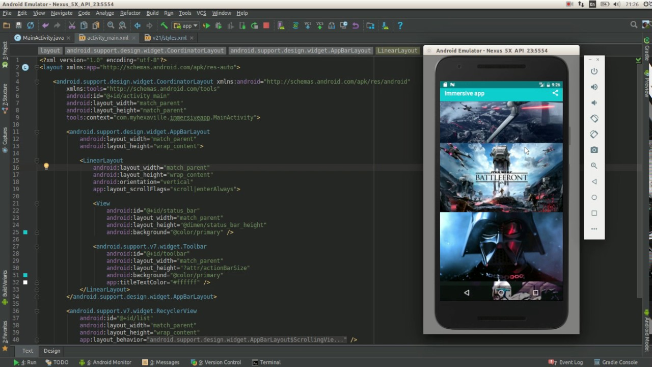 android immersive apps