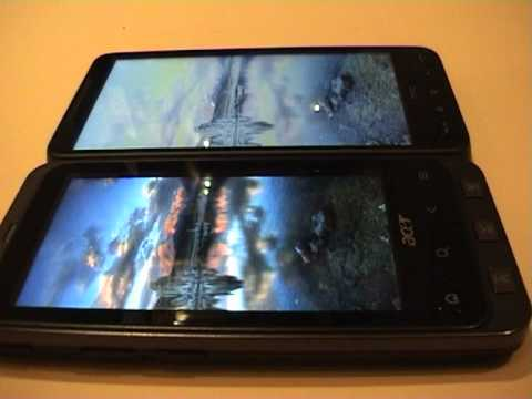 ACER Stream vs HTC HD2 display quality