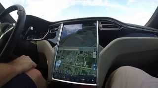 "SELF DRIVING  ""AUTOPILOT"" TESLA MODEL S! THE FUTURE IS NOW! ....YO!"