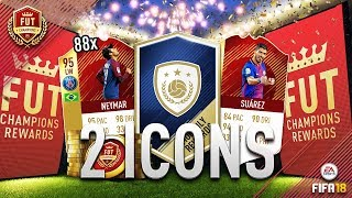2 ICONS AND 88 RED IF PLAYERS!! FUT CHAMPIONS TOP 100 REWARDS!!