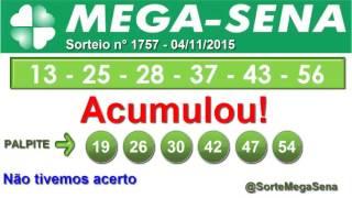 RESULTADO MEGA SENA - 1757 - 04/11/2015 - quarta-feira - SorteMegaSena