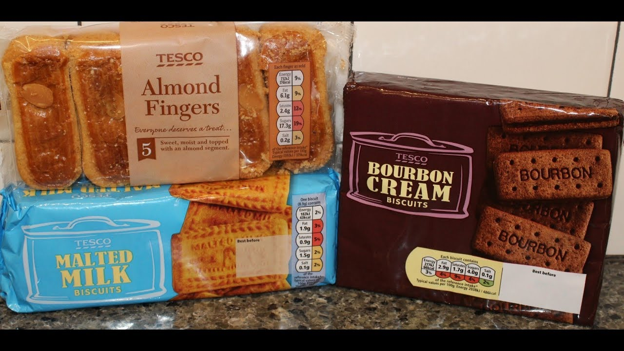 Tesco Almond Fingers Malted Milk Biscuits Bourbon Cream Biscuits Review