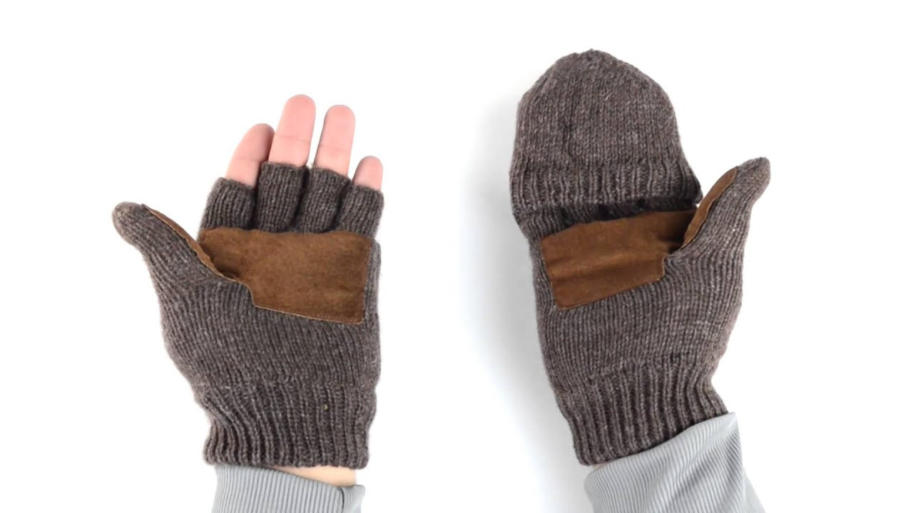 Mens gloves with mitten flap - Grand Sierra Ragg Wool Mittens Convertible Fingerless Gloves Thinsulate Suede Palm For Men Youtube