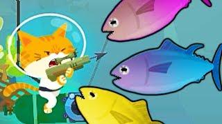 #3 ПОДВОДНЫЙ КОТЕНОК РЫБОЛОВ поймал ОГРОМНУЮ рыбу СЕЛЕДКУ симулятор котенка веселый летсплей #ФГТВ