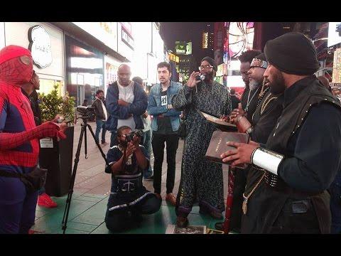 Muslim Spider-man Debates Black Hebrew Israelites In Times Square NYC