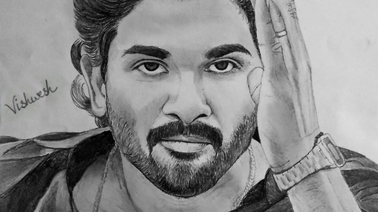 Ala Vaikunthapurramuloo Allu Arjun Pencil Art Allu Arjun Sketch Vishweswar Arts Trivikram Youtube