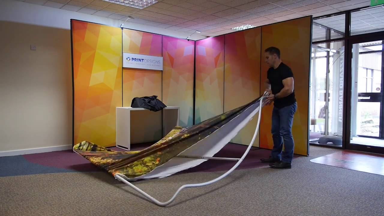 Fabric Exhibition Stand Out : Texstyle curved fabric display stand assembly youtube