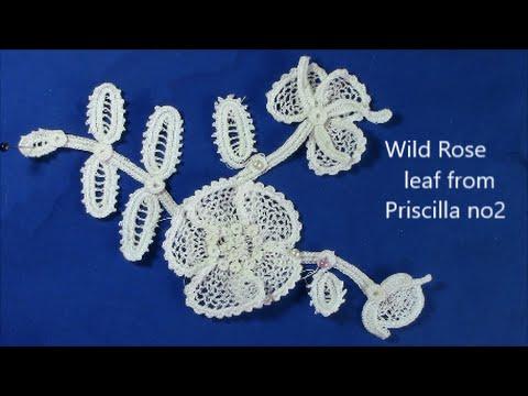 Irish Crochet Lace Leaf Of Wild Rose Motif Youtube