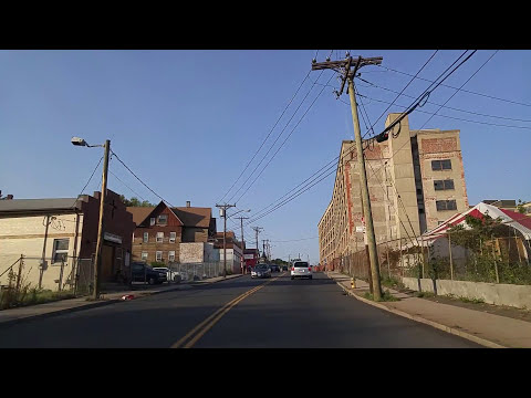 Driving by Downtown Waterbury,Connecticut