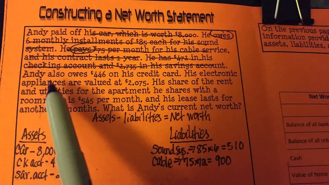 Constructing a net worth statement youtube 1betcityfo Image collections