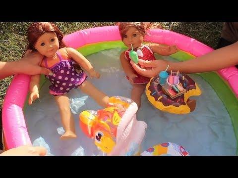 Oyuncak bebekler ve LOL Doll Havuz Partisi !! şişme havuz Pool Party Water play Swim Bidünya Oyuncak - 동영상