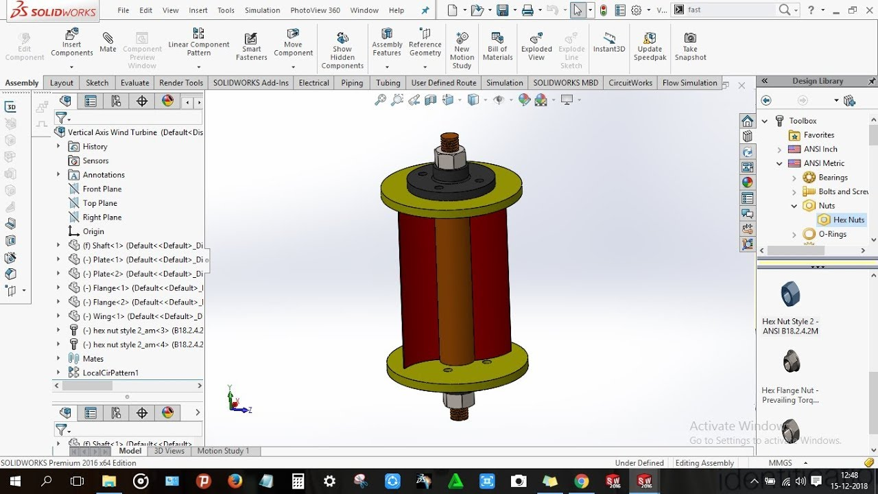 How to design Vertical Axis Wind Turbine in Solidworks