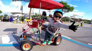 Driving in My 4 Power Wheels Electric Car | Tim & Dad Ride On Bicycle | Race Car Adventure TimKo Kid