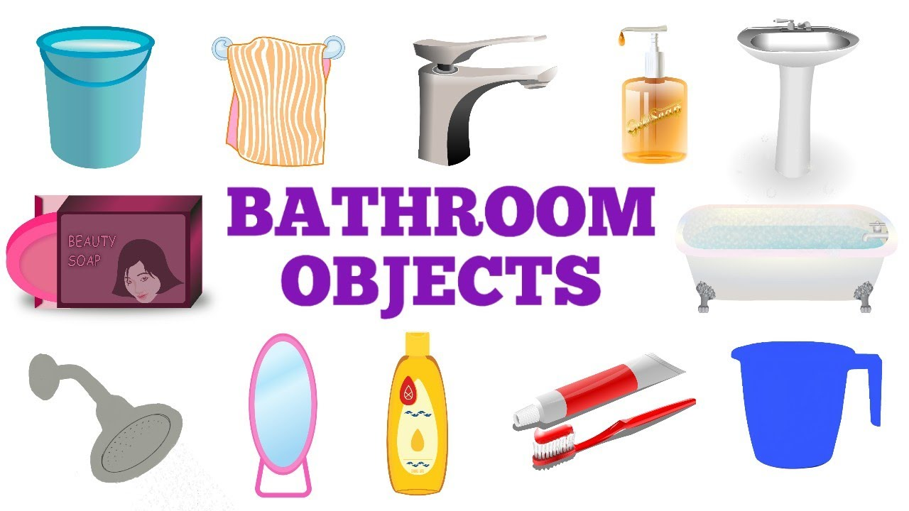 Name Of Bathroom Objects In English For Preschool Kindergarten Kids Things In The Bathroom Terms Youtube