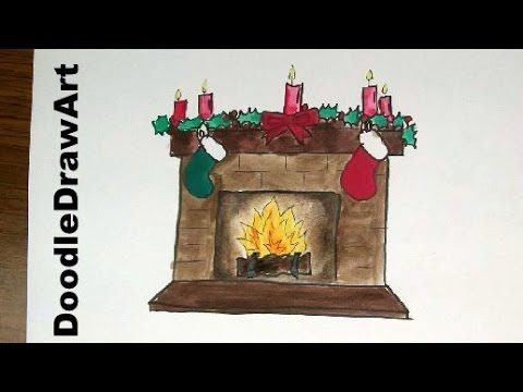 Drawing How To Draw a Christmas Fireplace Hearth with Stockings , Step by  Step lesson for kids