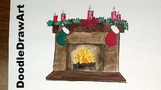 Drawing: How To Draw a Christmas Fireplace Hearth with Stockings - Step by Step lesson for kids