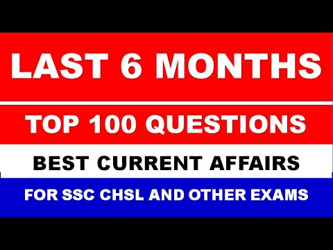 Top 100 Current Affairs For SSC CHSL EXAM 2020 | Last 6 Months Best 100 Current Affairs For SSC CHSL