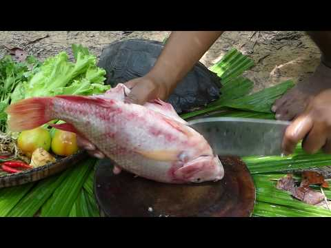 Survival Technique Cooking Turtle for Food eating Delicious - Cook Red Fish Recipe in Forest