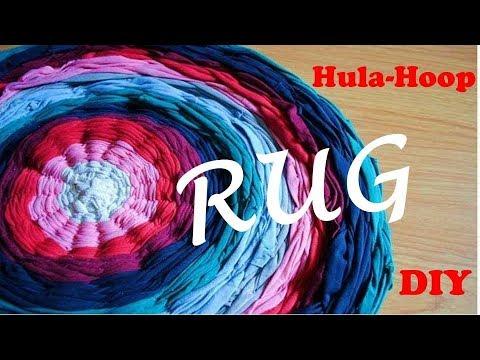 DIY. Rug from old t-shirts. Using Hola-hoop. Коврик из старых футболок. Мастер класс