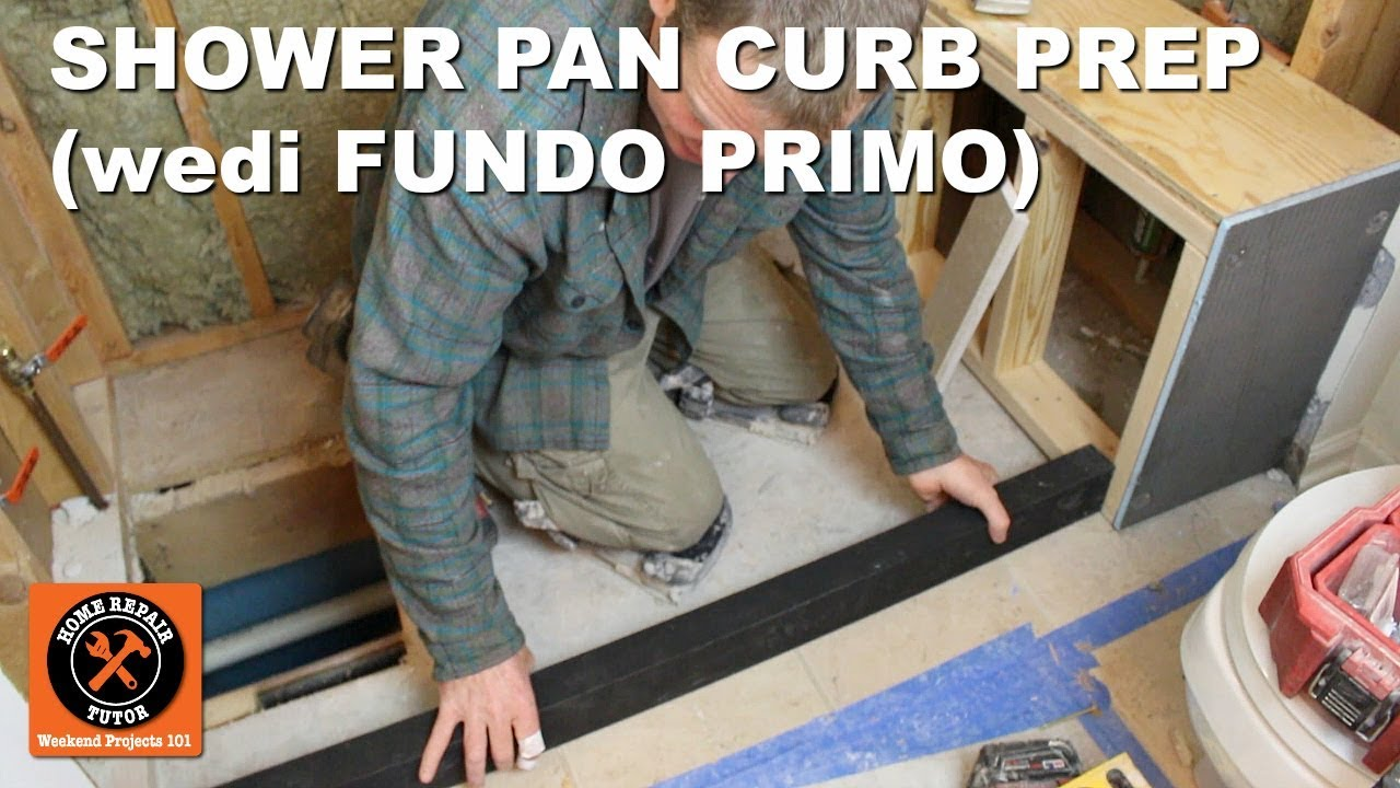 install a shower pan part 1 curb prep for wedi fundo primo step by step youtube. Black Bedroom Furniture Sets. Home Design Ideas
