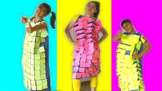 Guka Maria and Nastya make a new Dress from Color Papers  - Cool DIY Ideas