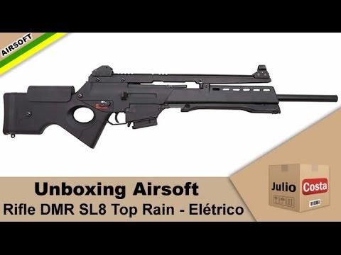 Unboxing Airsoft - Rifle DMR SL8 Top Rain (JG ER 6690)