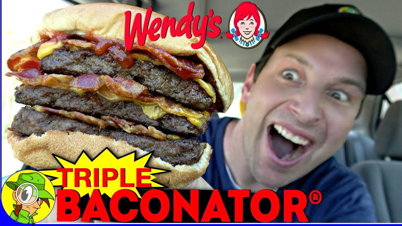 Wendy S Triple Baconator Review X 3 Peep This Out Youtube