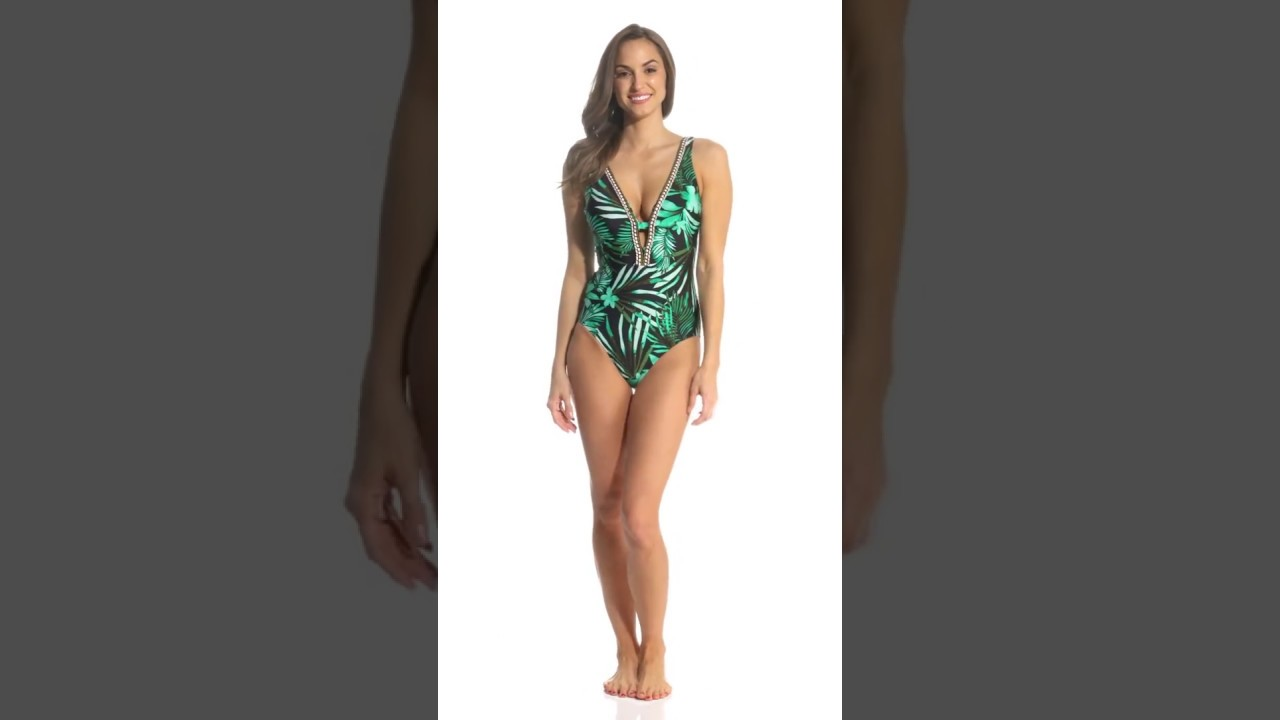 20fae84117d Jantzen Leafy Tropical Plunge One Piece Swimsuit | SwimOutlet.com ...