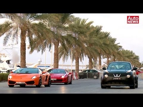Juke-R vs Lamborghini Gallardo, Mercedes SLS AMG und Ferrari 458 Italia Travel Video