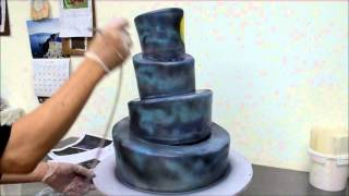 Cake Airbrushing Process - The Nightmare Before Christmas Airbrush Properation