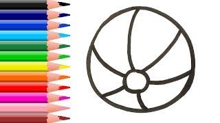 Раскраска для детей МЯЧИК. Мультик   Раскраска. Учим цвета