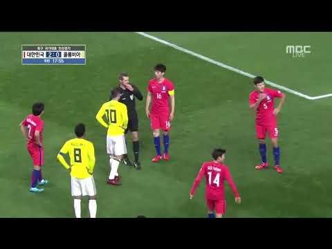 South Korea vs Colombia 2-1 l James Rodriguez fight 2017