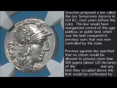 132 B.C. Roman Republic silver denarius of M. Aburius Geminus