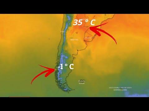 ¡Clima loco! Fuertes nevadas en el sur de Argentina y Chile hoy, mientras que +35 ° C en el norte