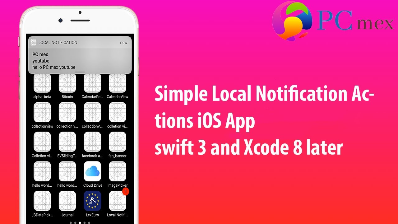 Apple Swift iOS 10 Tutorial: Simple Local Notification Actions iOS  App(swift 3 and Xcode 8)