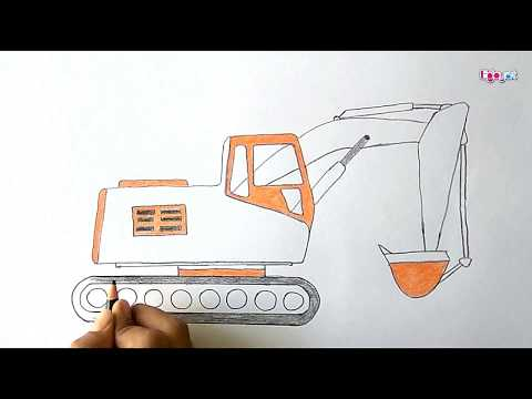 How to Draw JCB - Excavator Truck  Videos  for kids | by Enjoy Art
