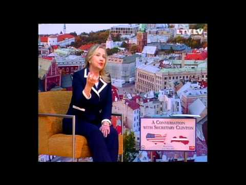 Secretary Clinton Holds a Townterview With Latvian Youth