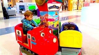 В поисках паровозиков Чаггингтона , Пожарная машина с человечком, пылесос в магагине игрушек
