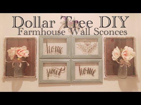 Dollar Tree DIY Farmhouse Style Wall Sconces || Wall Lights