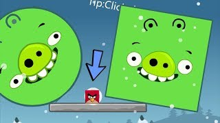 Angry Birds Kick Out Green Piggies - ROUND AND SQUARE PIG KICKED BY SMALLEST BIRD!