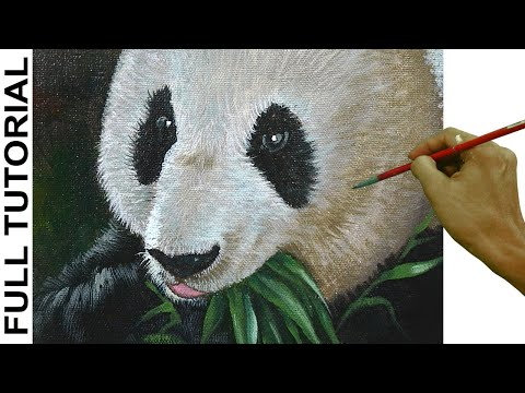 Acrylic Painting Tutorial How to Paint Realistic Portrait of Panda Bear Eating Bamboo Leaves